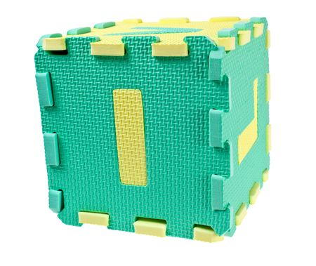 Toy blocks forming a cube with the letter I isolated on white background Stock Photo - 6870813