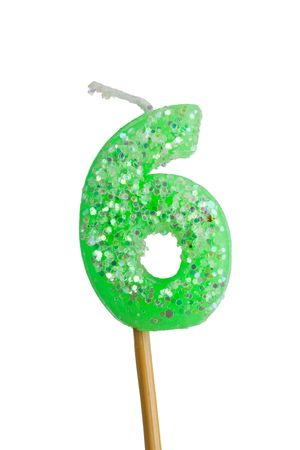 arabic numeral: Birthday candle number six isolated on white background