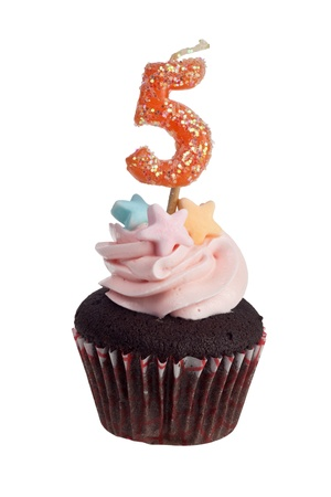 Mini cupcake with birthday candle for five year old isolated on white background Stock Photo - 8274021