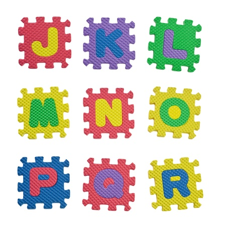 r p m: Alphabet blocks from J to R isolated on white background