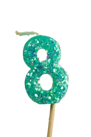 integer: Birthday candle number eight isolated on white background Stock Photo