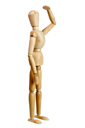 far away look: Wooden mannequin look far away isolated on white background