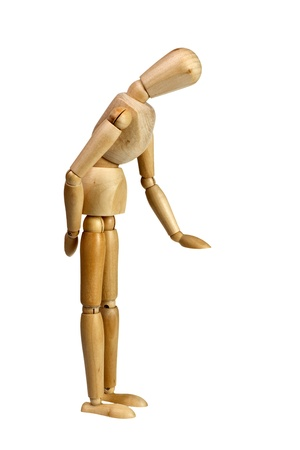 bending down: Wooden mannequin bending down measuring height isolated on white background Stock Photo