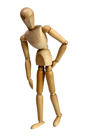 nonverbal: Wooden mannequin touching its back isolated on white background