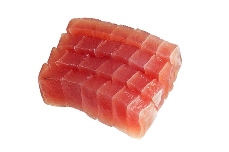 Slices of raw bluefin tuna used in sashimi isolated on white background photo