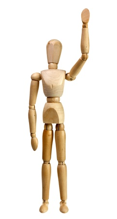 beckon: Wooden mannequin raise hand waving isolated on white background
