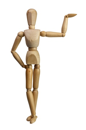body language: Wooden mannequin using one hand to support isolated on white background