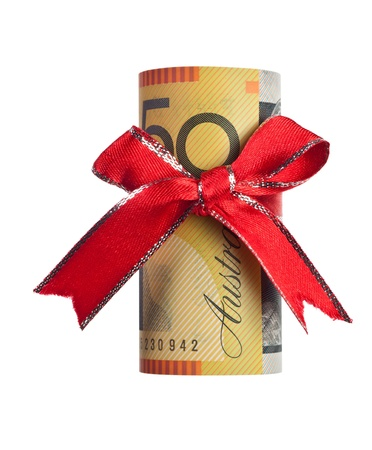 Fifty Australian dollars wrapped by ribbon isolated on white background