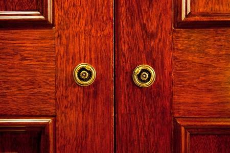 closet door: Closeup of the wooden door of an oriental styled closet