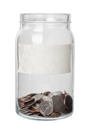 money jar: Some US quarter dollars in a jar with label isolated on white background