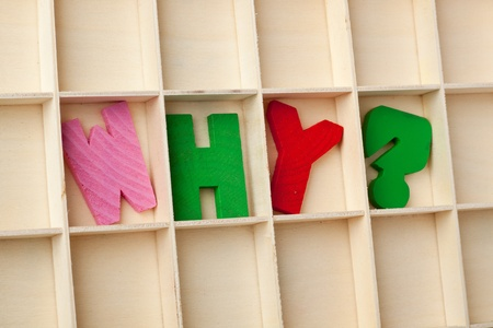 Letter blocks forming the word WHY? photo