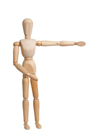 non verbal communication: Wooden mannequin hand pointing right isolated on white background Stock Photo