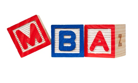 mba: Wooden blocks forming the letters MBA isolated on white background