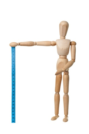 Mannequin holding a measuring tape isolated on white background photo