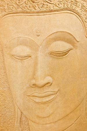 cabeza de buda: Talla en piedra de Buda Foto de archivo