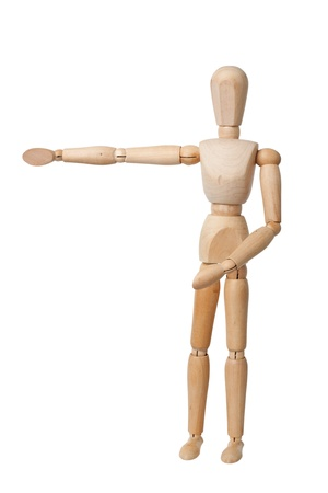 non verbal: Wooden mannequin hand pointing left isolated on white background