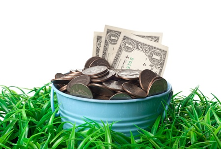 bucket of money: Bucket full of money on a patch of grass