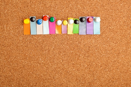 cork board: Cork board and colorful heading with copyspace for a twelve letter word Stock Photo