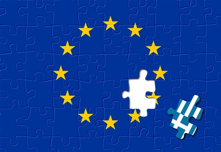 eurozone: Jigsaw puzzle showing Greece removed from the European Union