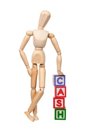wooden mannequin: Wooden figurine with the word CASH isolated on white background