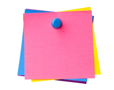 post it: Stack of colorful sticky notes pinned together isolated on white background