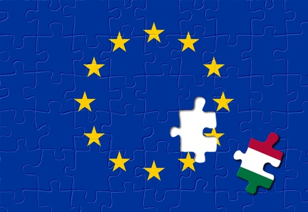 eurozone: Jigsaw puzzle showing Italy is a part of the European Union Stock Photo
