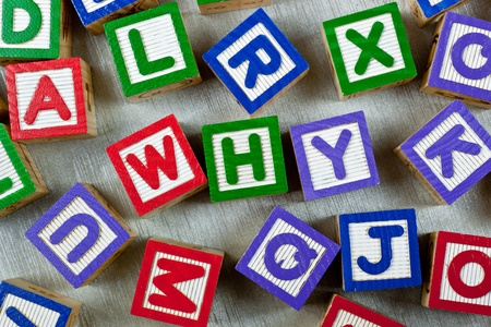 Wooden blocks forming the word WHY in the center photo