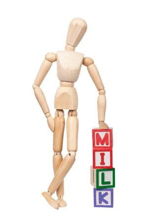 wooden doll: Wooden figurine with the word MILK isolated on white background