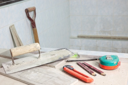 refurbish: Tools used in a house renovation site