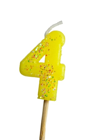 integer: Birthday candle number four isolated on white background Stock Photo