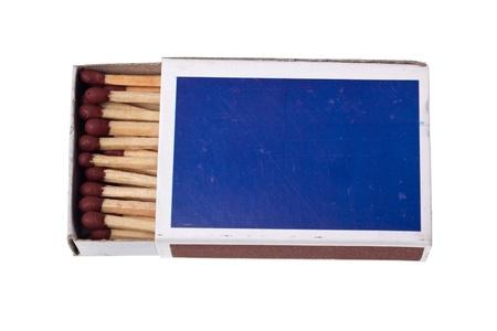 firestarter: Matchbox full of matchsticks isolated on white background