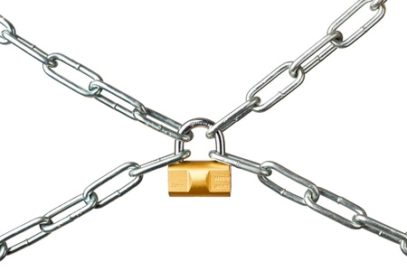 lock and chain: Metal chains secured by a padlock isolated on white background