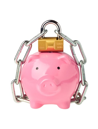 Piggy bank with lock and chain isolated on white background Foto de archivo