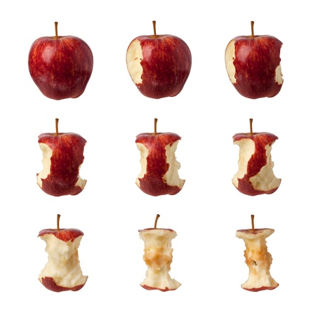 eaten: Different stages of an apple being eaten isolated on white background