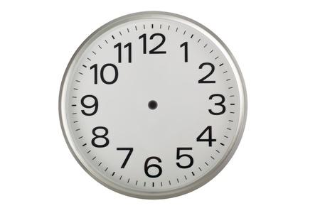 白い背景で隔離の針のない時計の文字盤