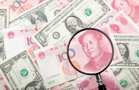 rmb: Focusing on Chinese yuan against US and Chinese currencies background  Stock Photo
