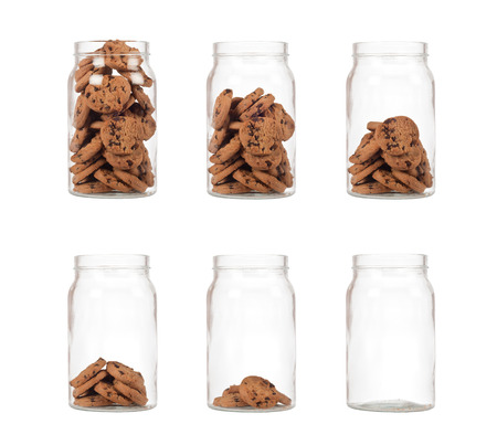Sequence of jar of cookies from full to empty isolated on white background