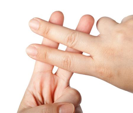 interaccion social: Dedos que forman un s�mbolo hashtag aislados sobre fondo blanco Foto de archivo