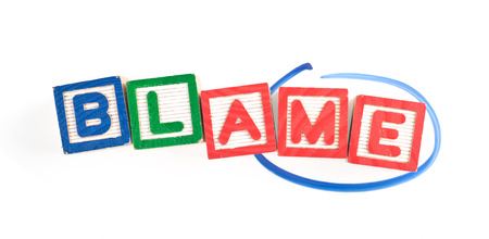 accountable: Wooden blocks forming the word BLAME with the word ME circled  Stock Photo