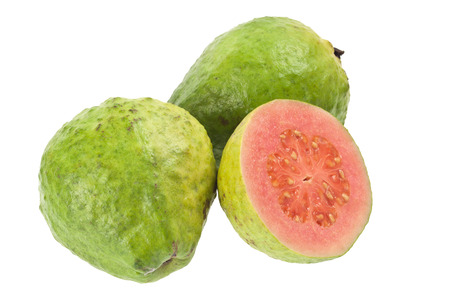 guava: Pink guava fruit isolated on white background  Stock Photo