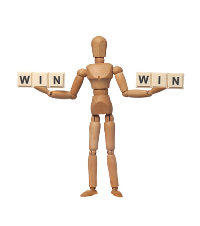 favourable: Figurine with the word WIN on both hands depicting a win-win situation  Stock Photo