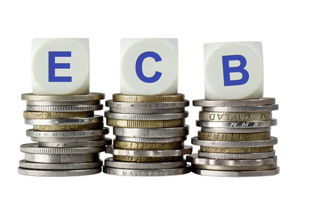 ecb: Stacks of coins with the letters ECB isolated on white background