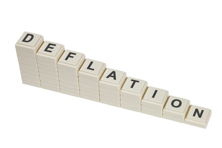 deflation: Stack of decreasing blocks showing the word DEFLATION isolated on white background  Stock Photo
