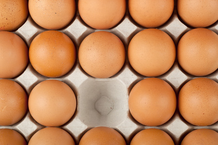 omitted: One chicken egg missing from a tray of eggs