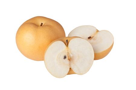 pera: Peras asiáticas aislados en el fondo blanco