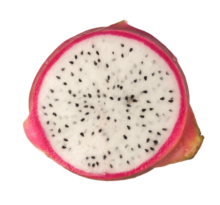 dragonfruit: Cross section of a dragonfruit isolated on white background
