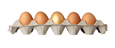 One golden egg in the middle of a tray of eggs isolated on white background photo