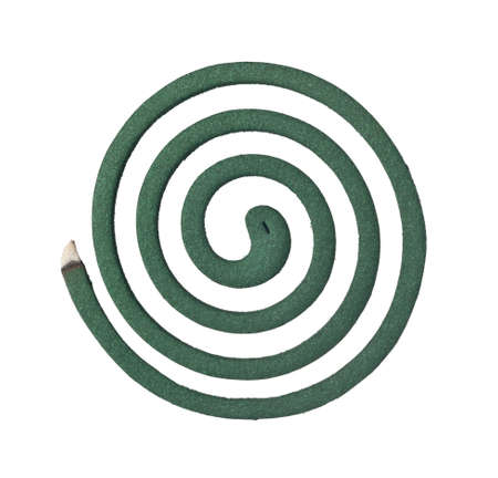 repel: Burning mosquito coil isolated on white background Stock Photo