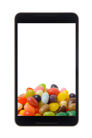 android tablet: Android tablet with jelly bean isolated on white background