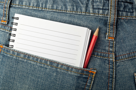 jot: Notepad and pencil in jeans back pocket